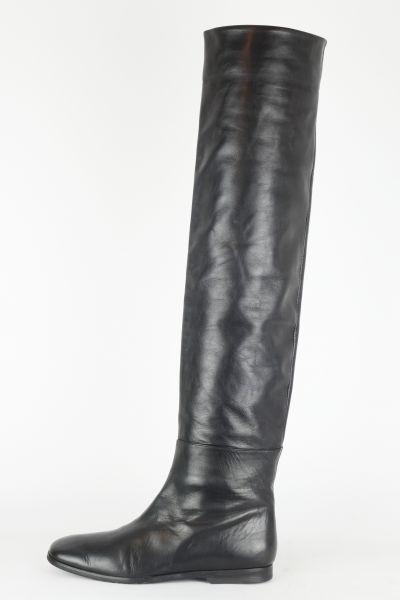 Overknee Stiefel schwarz Leder