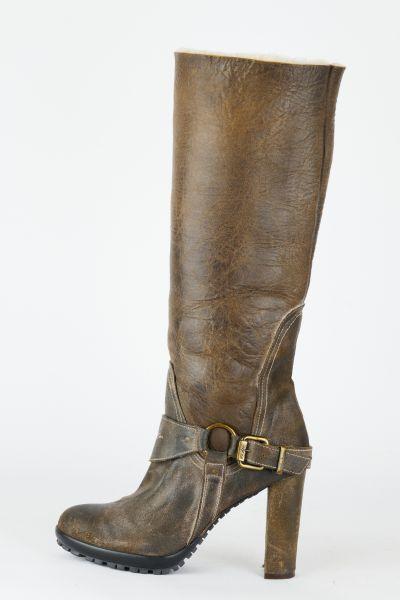 Stiefel Leder braun Fell