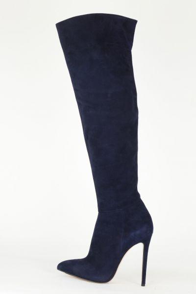 High Heel Overknees blau Wildleder