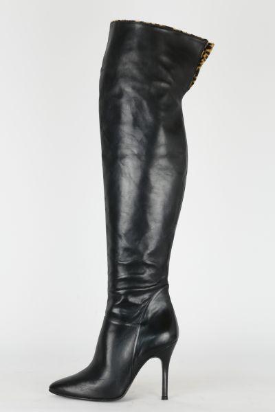 Overknees Leder schwarz