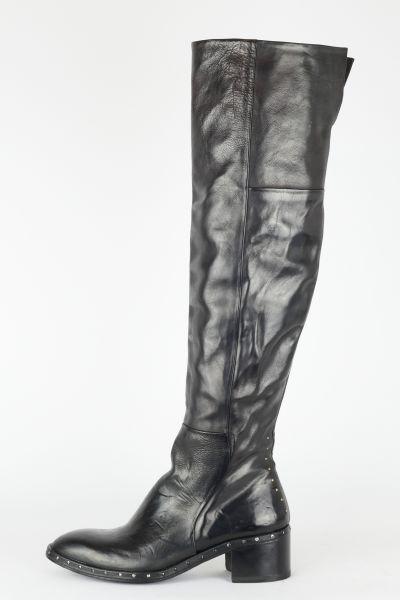 Overknee Stiefel Leder schwarz